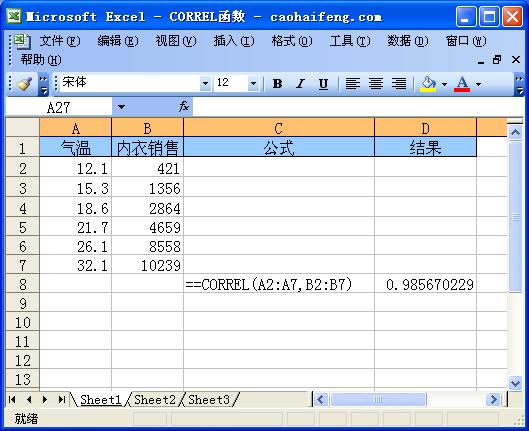 Excel中使用CORREL函数