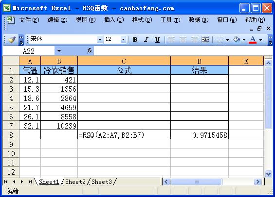 Excel中使用RSQ函数