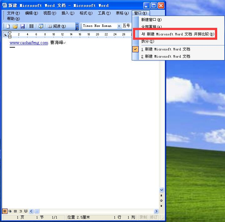Word 2003新增功能:并排比较文档