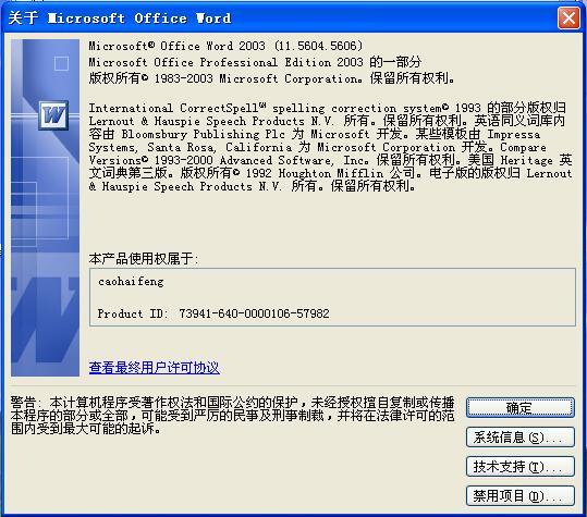 如何激活Word 2003